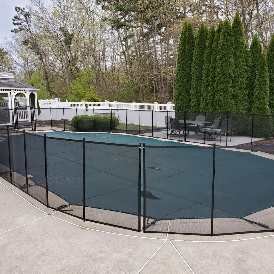 removable mesh pool safety fence installed by Best Defense Pool Enclosures